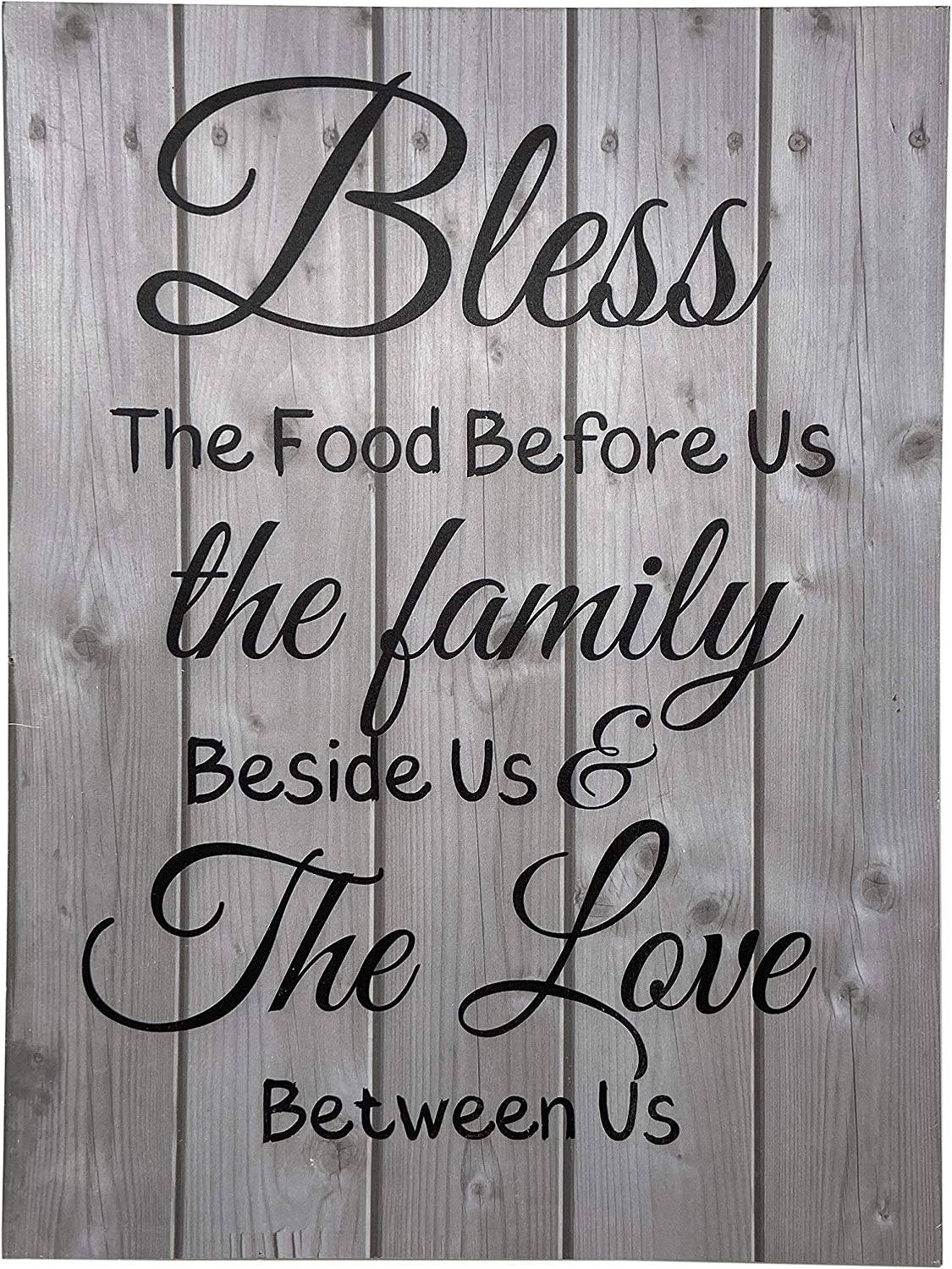 Bless The Food Before Us Vintage Wooden Rustic Farmhouse Wall Home Decor Sign For Kitchen, Living Room, Dining Room, Bedroom or Bathroom – Barnwood Color Decorative Wall Sign