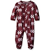 NCAA by Outerstuff NCAA Mississippi State Bulldogs Newborn & Infant Raglan Zip Up Coverall, Maroon, 24 Months