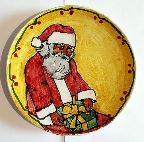 e7deb0d9ee42 Papá Noel-Plato de cerámica decorado con mano de diámetro Cm 21,4 ...