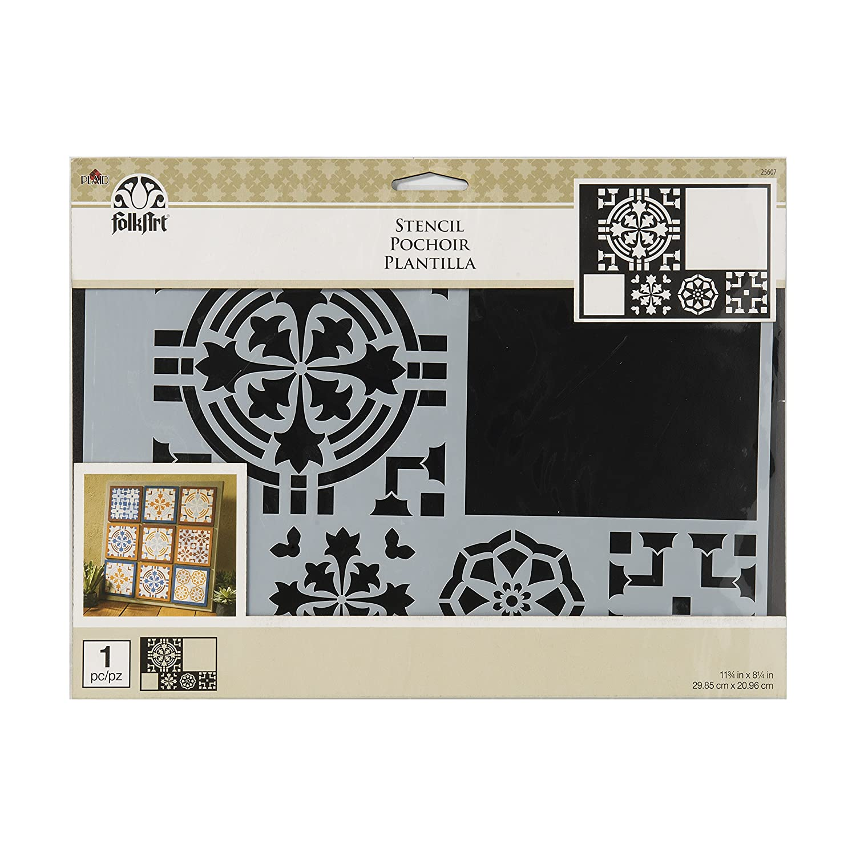 3f59e8af1 Amazon.com: FolkArt 25608 Barcelona Tile Stencil