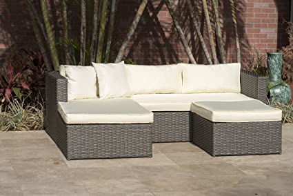 Atlantic Patio Sectional Set Deluxe, Off White