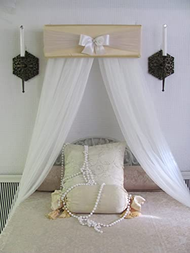 CrOwN Pelmet Upholstered Awning Gold Ivory Cornice Teester Girls Baby Bedroom Room decor Princess Bed Canopy : canopy cornice - memphite.com