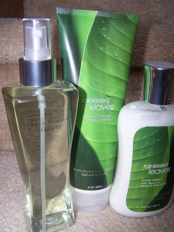 3 Piece Bath & Body Works Rainkissed Leaves Fragrance Gift Set- Fragrance Mist, Body Cream & Body Lotion (Rainkissed Leaves)