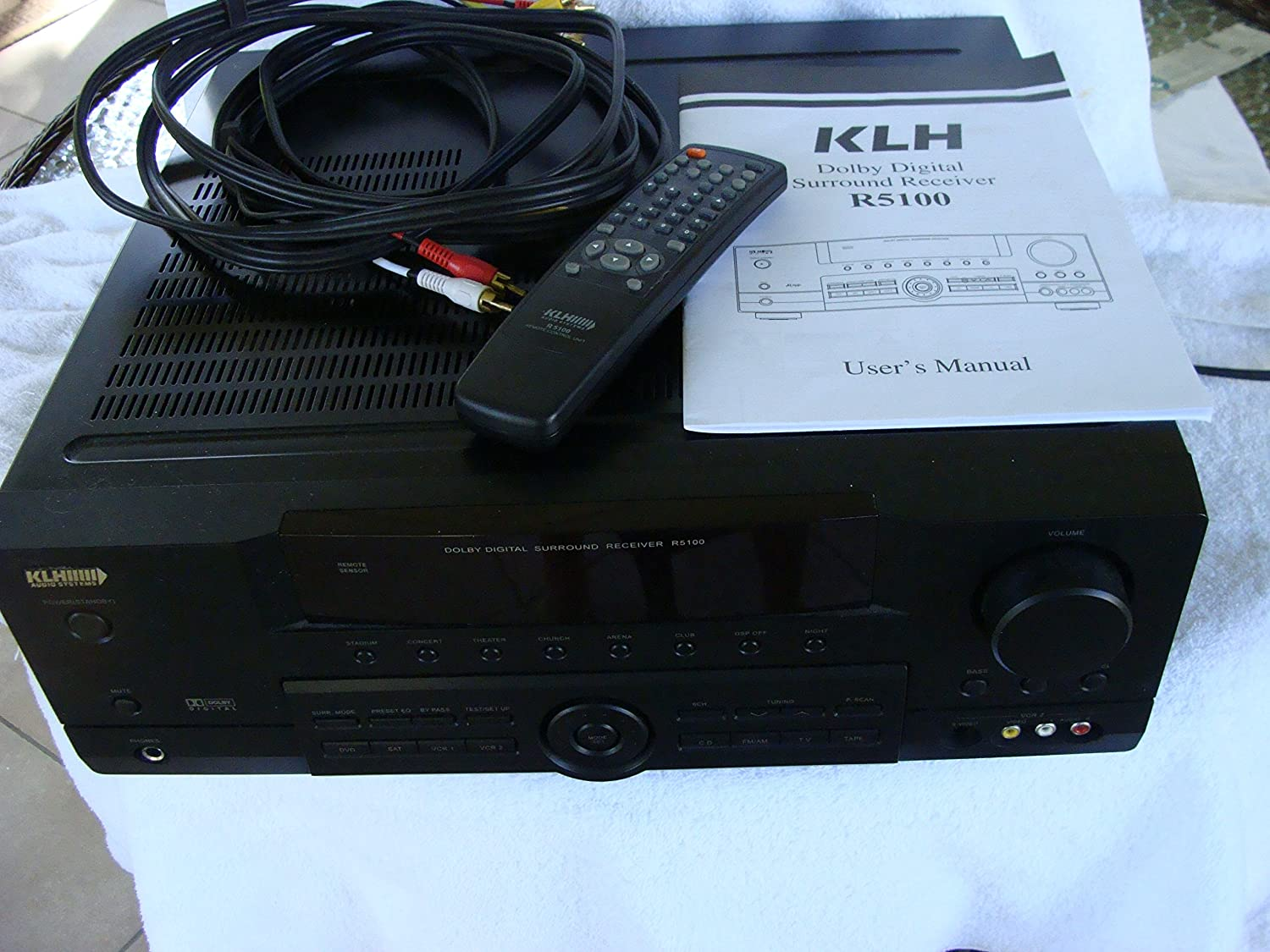 Klh r5100 surround sound receiver w/ manual, remote & cable n5.