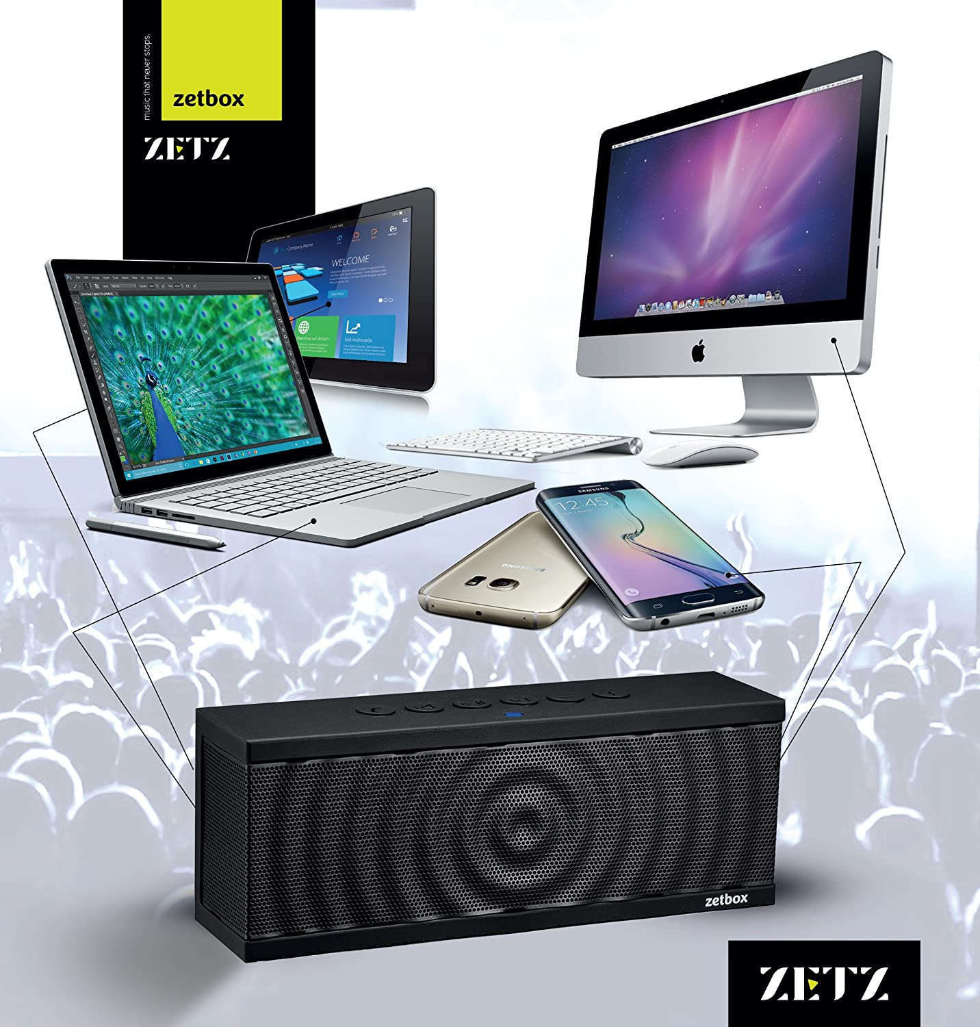 Black Galaxy iPad and More Zets Wireless Bluetooth Speaker Up to 12 Hours Playtime Portable Loud Speaker for iPhone 10W Nexus NFC /& AUX Connectivity
