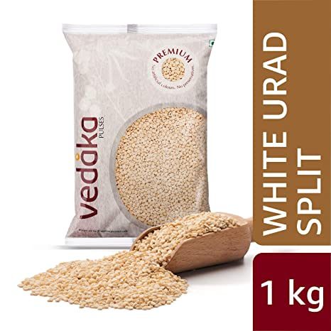 Amazon Brand - Vedaka Premium White Urad Split, 1 kg