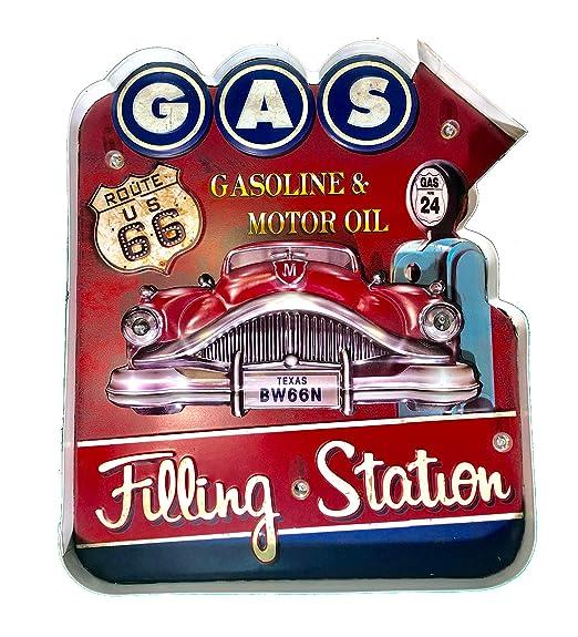 DiiliHiiri Cartel Gas Filling Station Vintage Letrero metálico Luminoso Artesanías Accesorios Decoración Hogar Retro