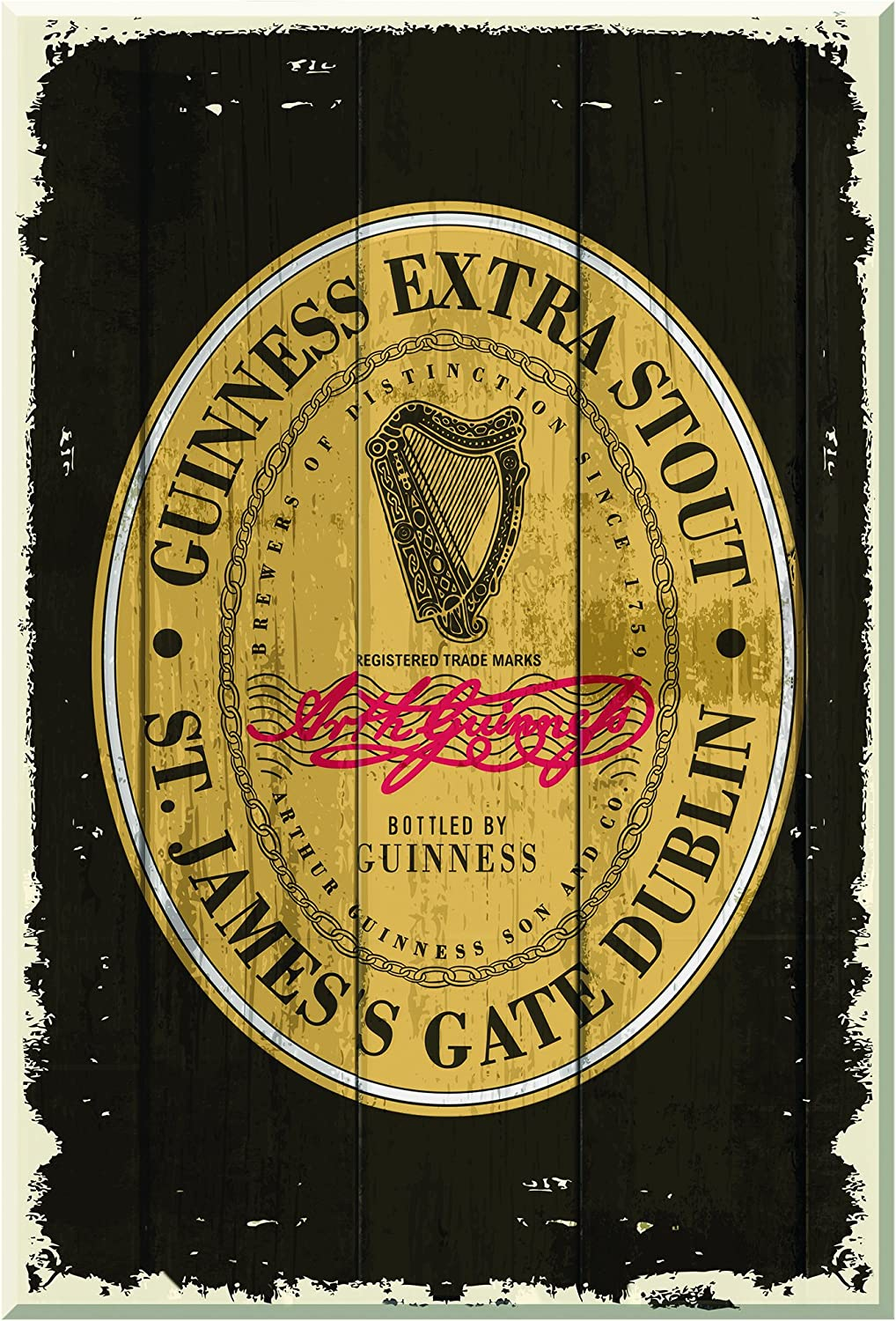 Guinness Nostalgic Wooden Sign - Heritage Label