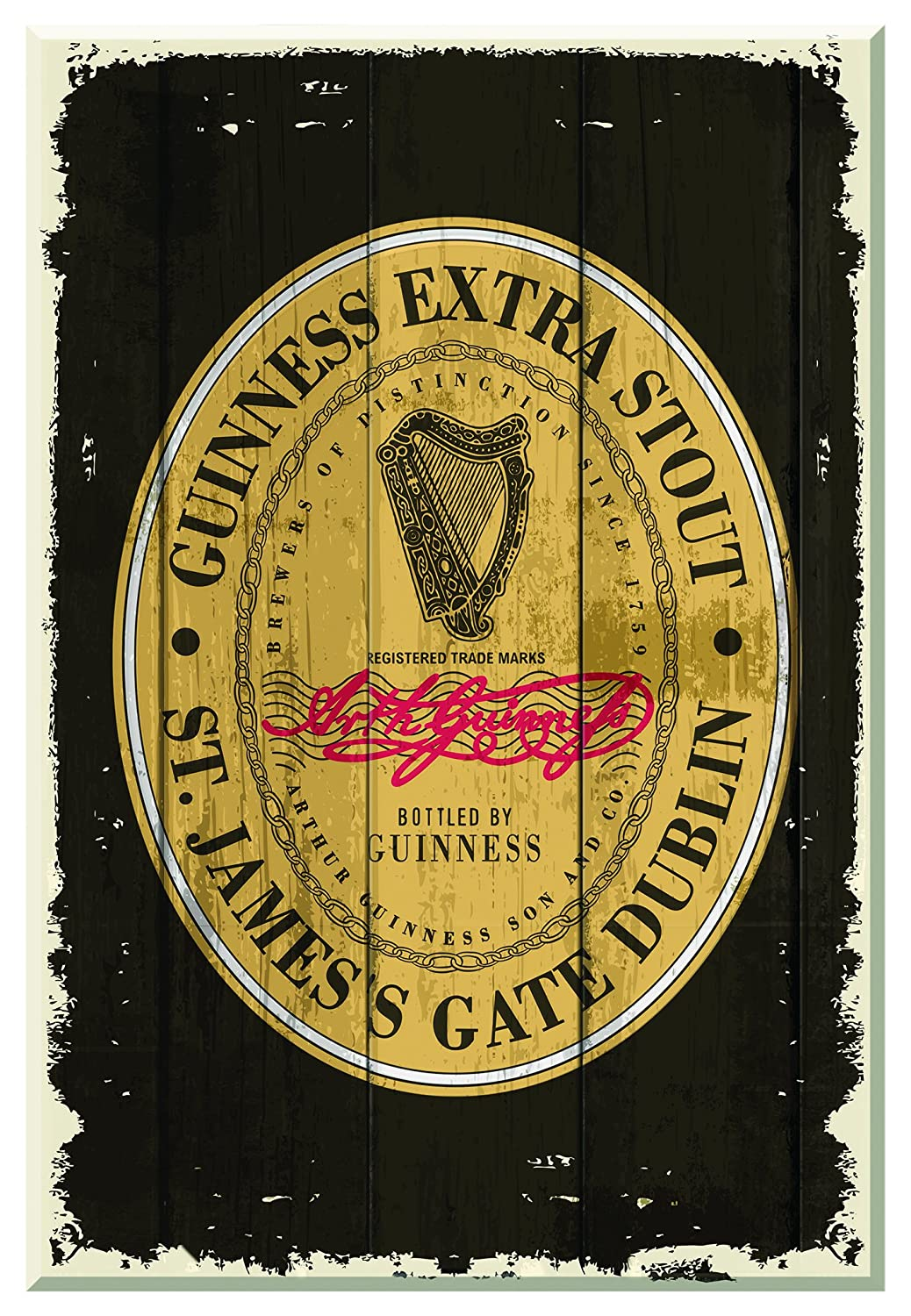 Nostalgic Guinness Wooden Sign With The Heritage Extra Stout Label GNS5456