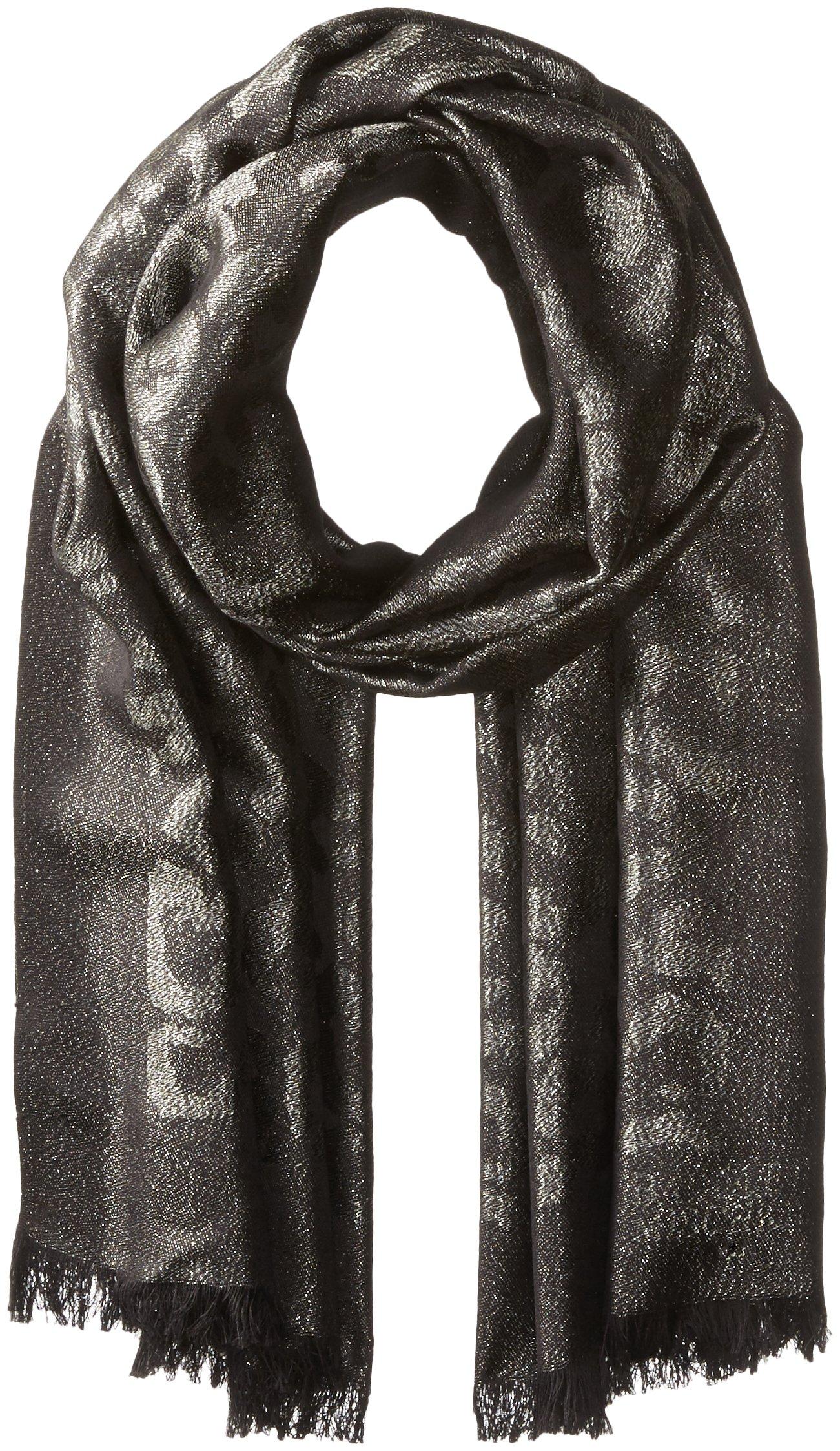 Badgley Mischka Women's Ocelot Lurex Jacquard Wrap Scarf, black/silver, One Size