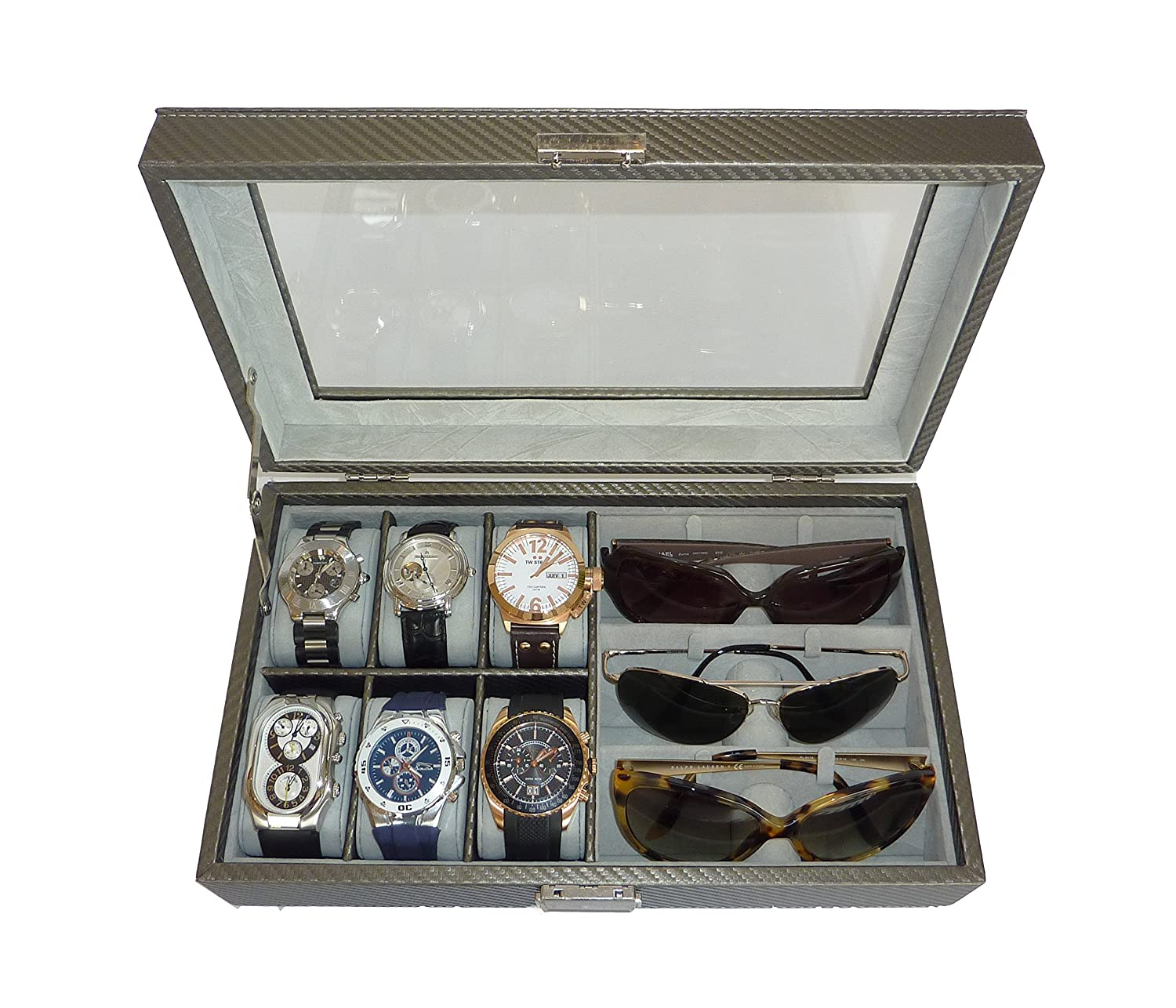 Amazon.com: TimelyBuys 6 Piece Watch U0026 3 Piece Eyeglasses Carbon Fiber Box  With Glass Top Lid (Pewter): Watches