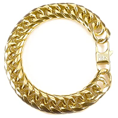 cm mm in fashion bracelets item accessories men wholesale jewelry cuban new plated on mens gold link from chain thick real stamp trendy bracelet