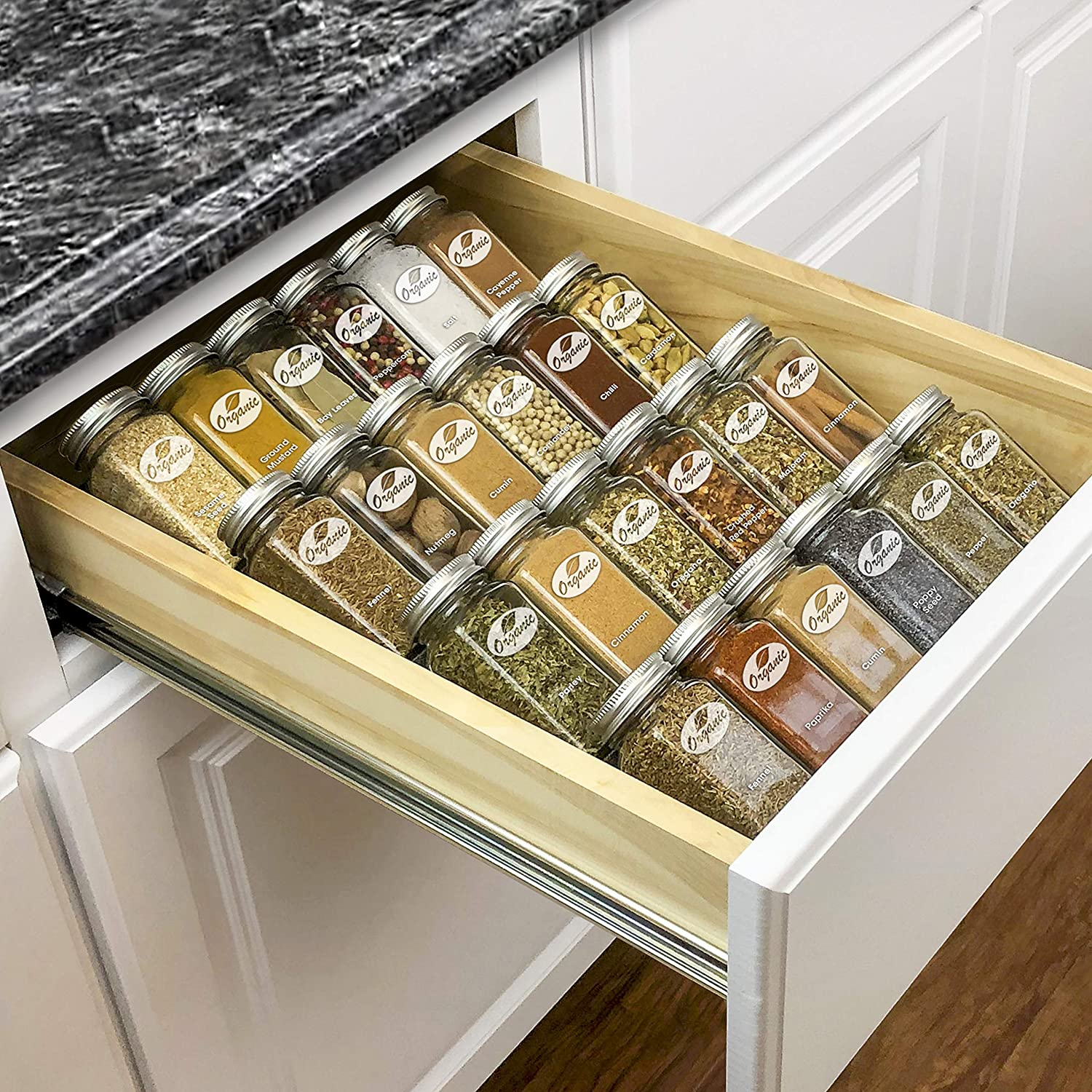 Kitchen Cabinet Drawer Organizers Amazon.com: Lynk Professional Spice Rack Tray Insert 4 Tier Heavy