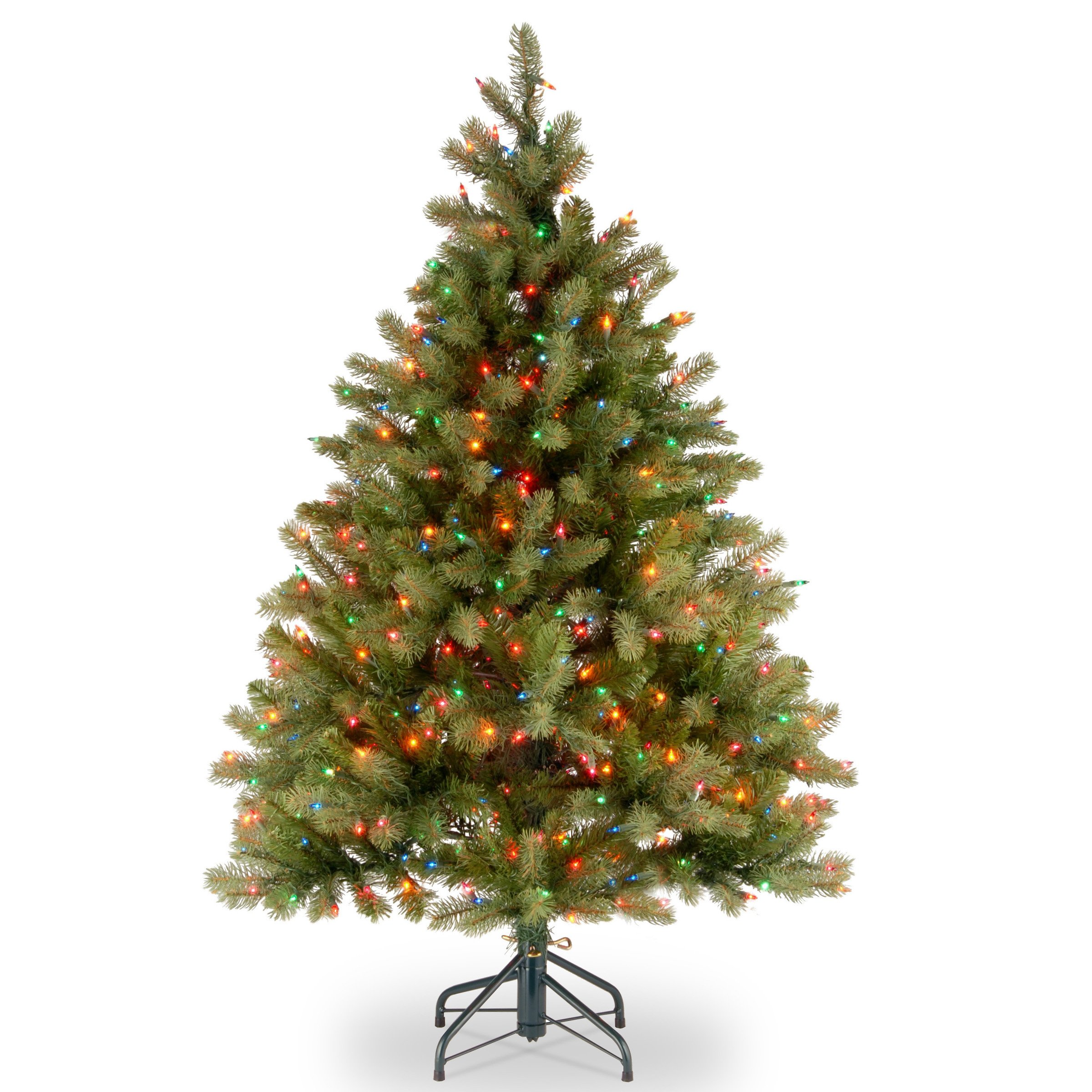 National Tree 4.5 Foot ''Feel Real'' Downswept Douglas Fir Tree with 450 Multicolor Lights, Hinged (PEDD1-325-45)