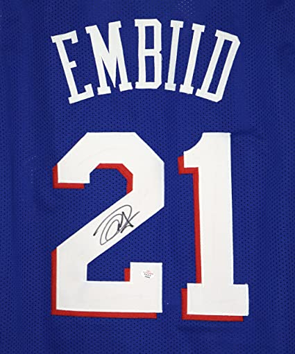 11563edc5 ... cheap joel embiid philadelphia 76ers signed autographed blue 21 custom  jersey paas coa 388e2 eaf3b