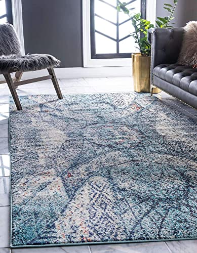 Unique Loom Vita Collection Traditional Over-Dyed Vintage Blue Area Rug 8' 0 x 10' 0