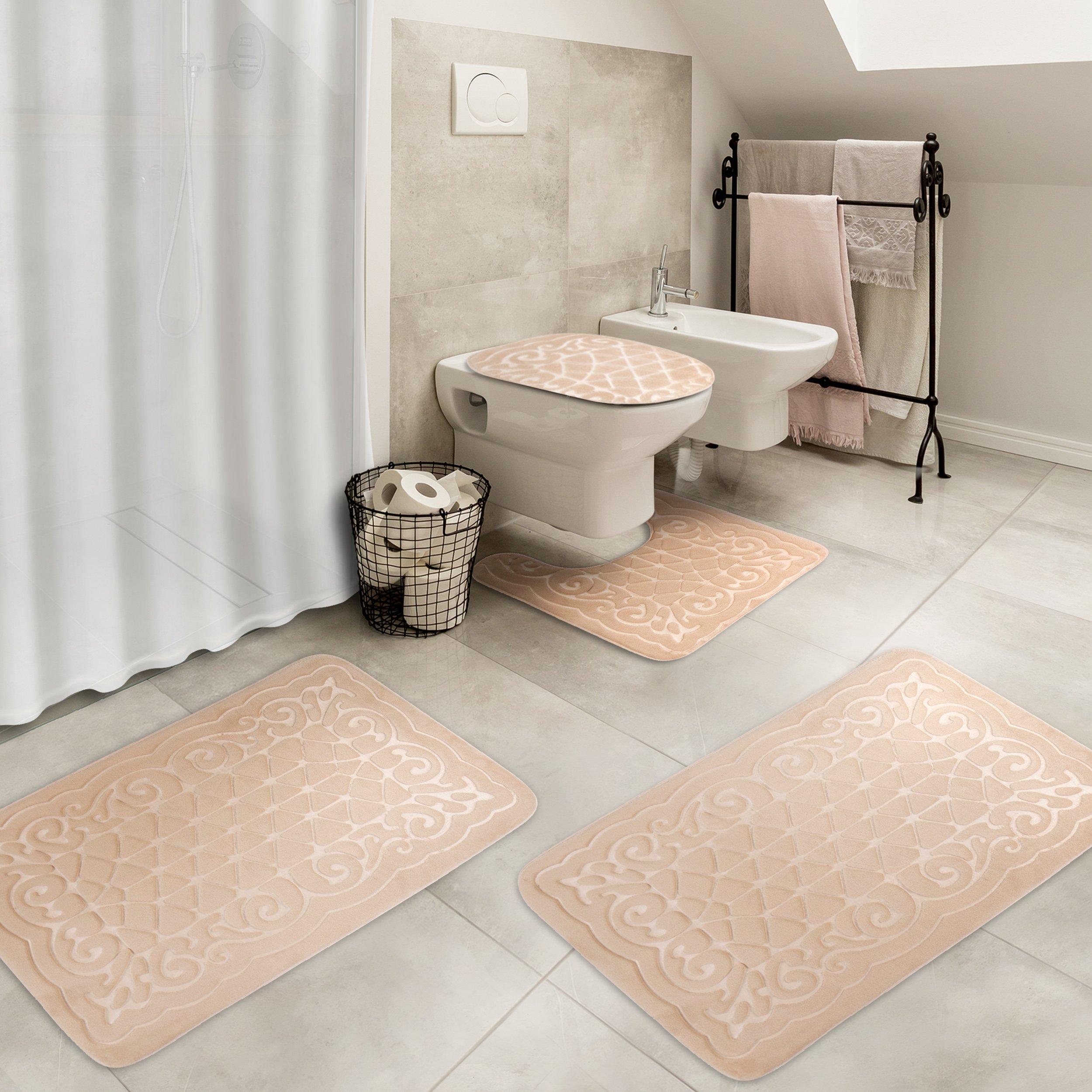 Effiliv 4 Piece Bathroom Rugs Set Memory Foam Large Bath