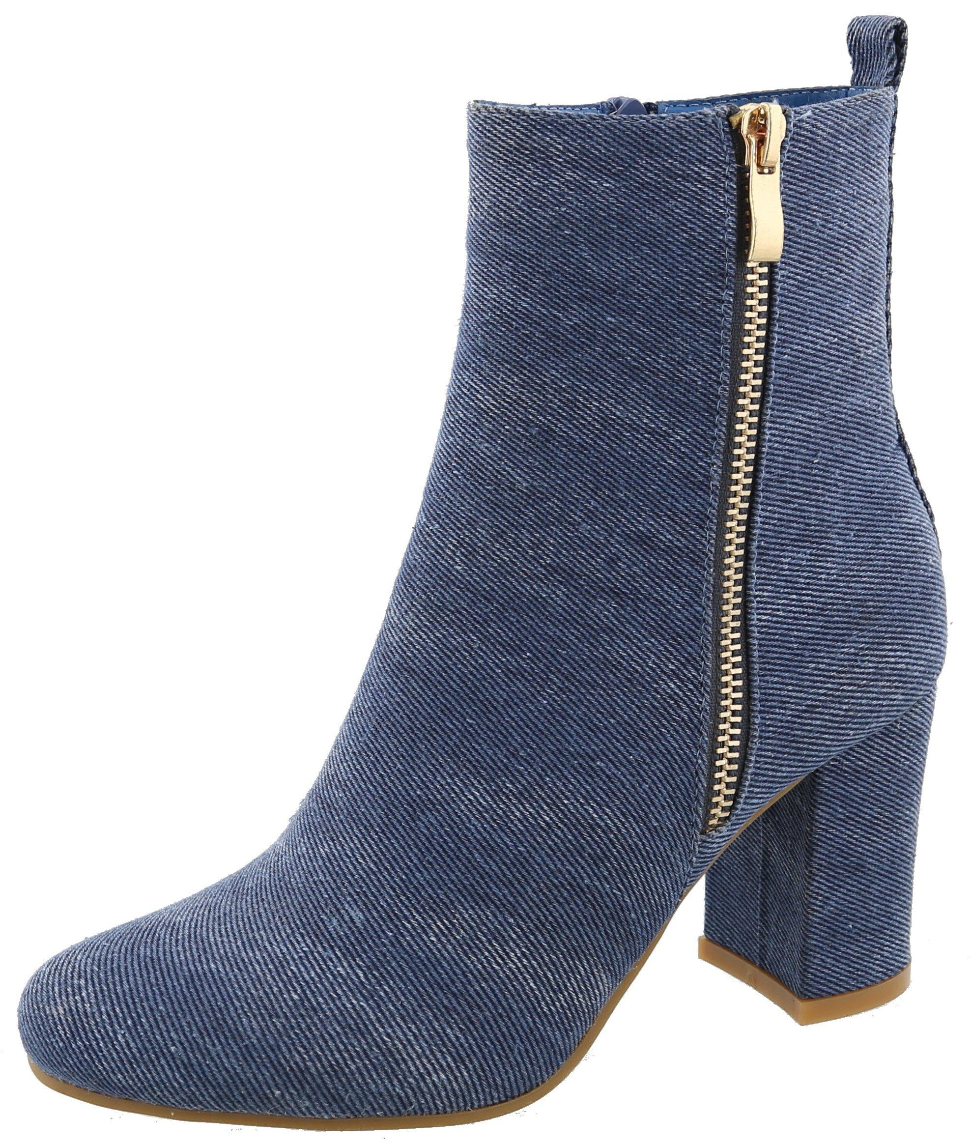 Top Moda Women's Exposed Zipper Block Heel Round Toe Ankle Bootie (8.5 B(M) US, Blue Denim)