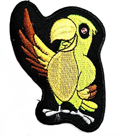 Nipitshop Patches Green Parrot birds Happy smile Cartoon kid Iron On Applique Patch for Clothes Backpacks T-shirt Jeans Skirt vests scarf Hat Bag