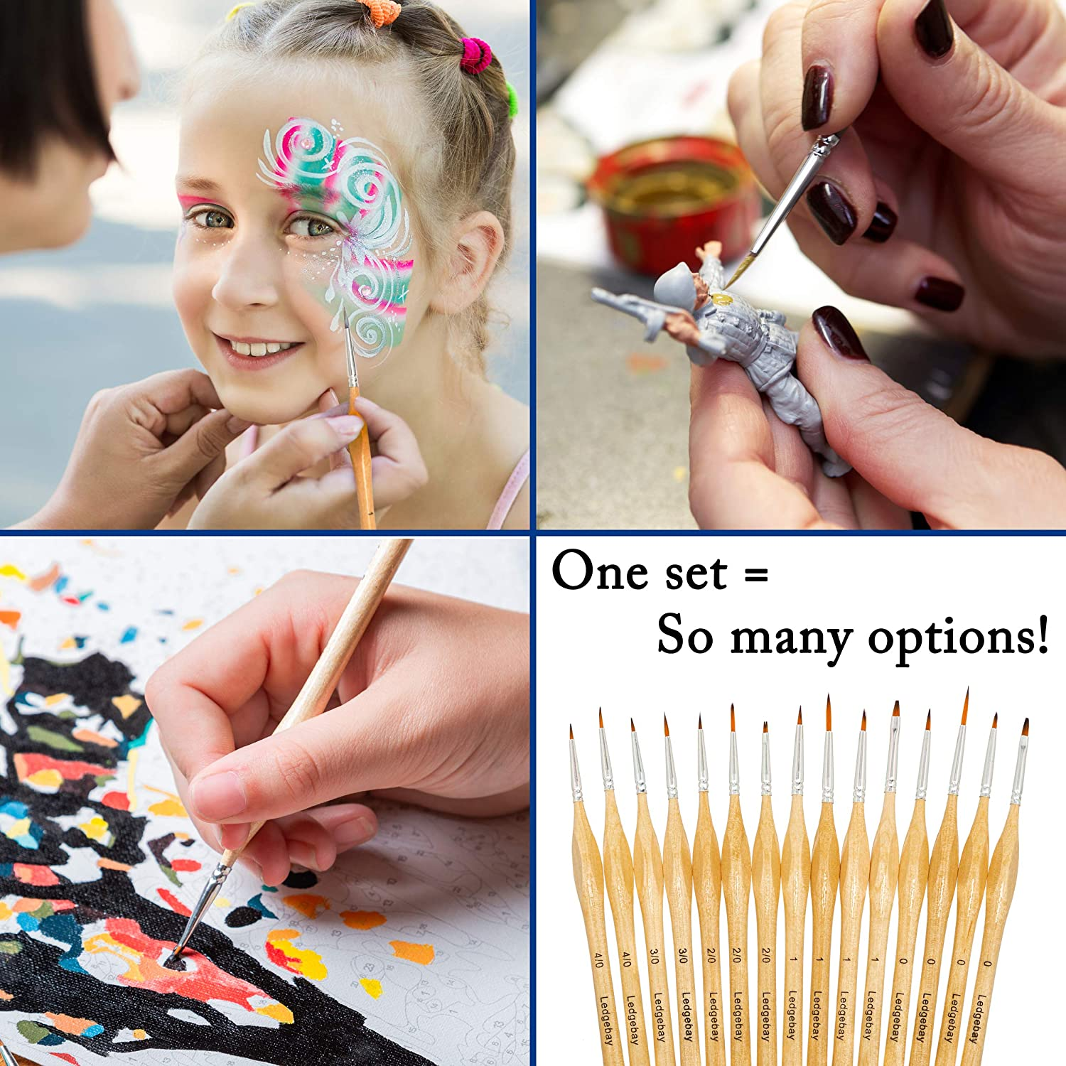 Miniature Paint Brushes by LEDGEBAY or Watercolor 15 Piece Fine Tip Brush Set for Micro Detail Perfectly Balanced and Weighted Wood Handles Taklon Bristles for Model Hand Crafted Oil Acrylic
