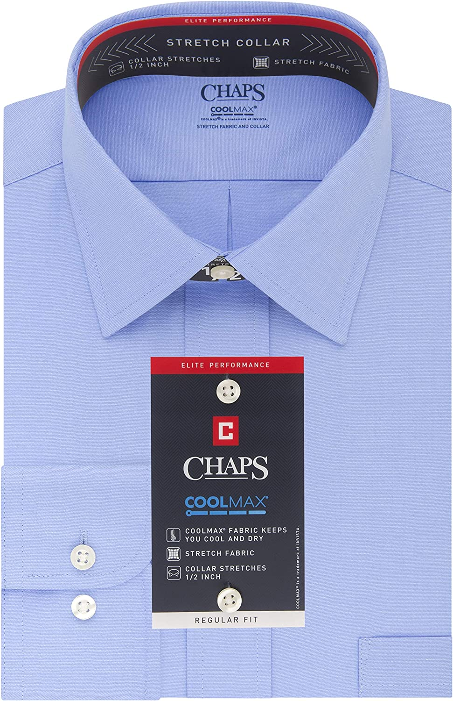 Chaps Mens Dress Shirts Regular Fit Stretch Collar Solid, Mist ...