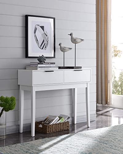 Kings Brand Furniture – Atmore Modern Console Sofa Entry Table with 2 Storage Drawers, White