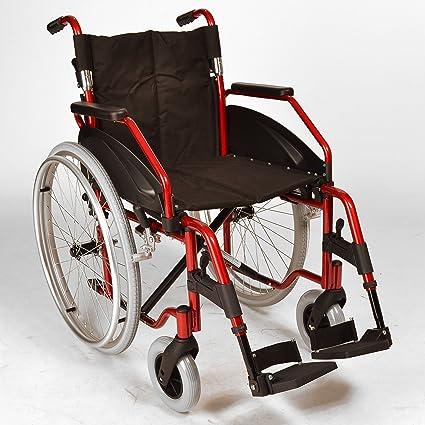 Ligera silla de ruedas plegable autopropulsión con ruedas de liberación rápida en rojo metálico ECSP03