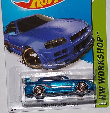 Amazon Com 2014 Hot Wheels Nissan Skyline Gt R R34 Blue 230 250