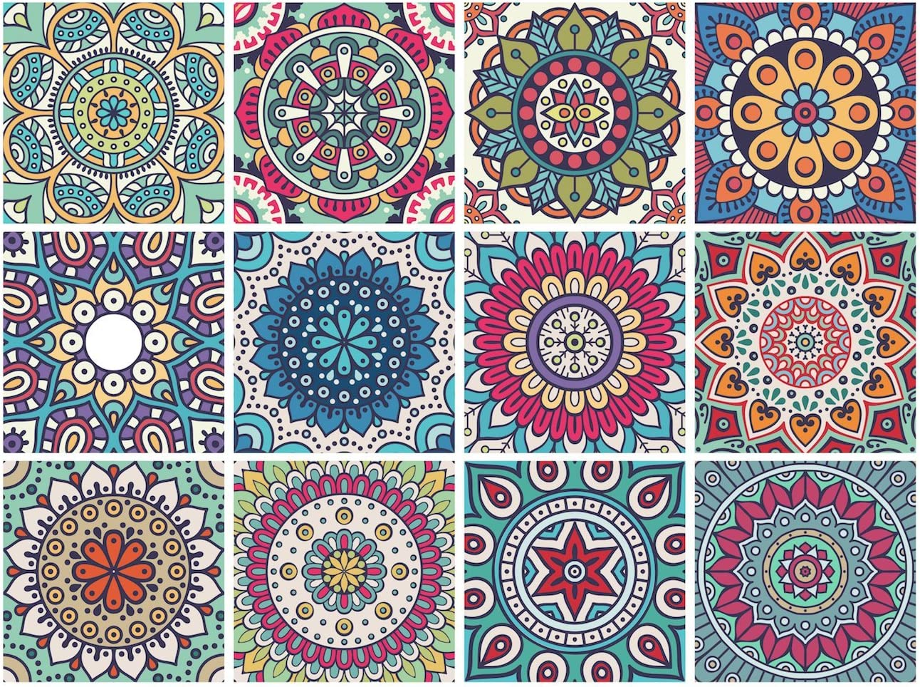 Mandala Decorative Tile Stickers Set 12 Units 6x6 inches. Peel & Stick Adhesive Tile Stickers. Home Decor. Staircase. Furniture Decor. Backsplash Tile Stickers.