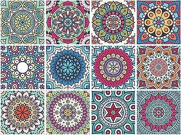 Amazon.com: Mandala adhesivos decorativos para azulejo (12 ...