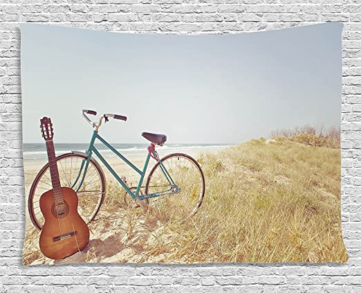 Supersoft manta de forro polar, diseño vintage una vieja guitarra y un Vintage bicicleta de pie en la playa ...