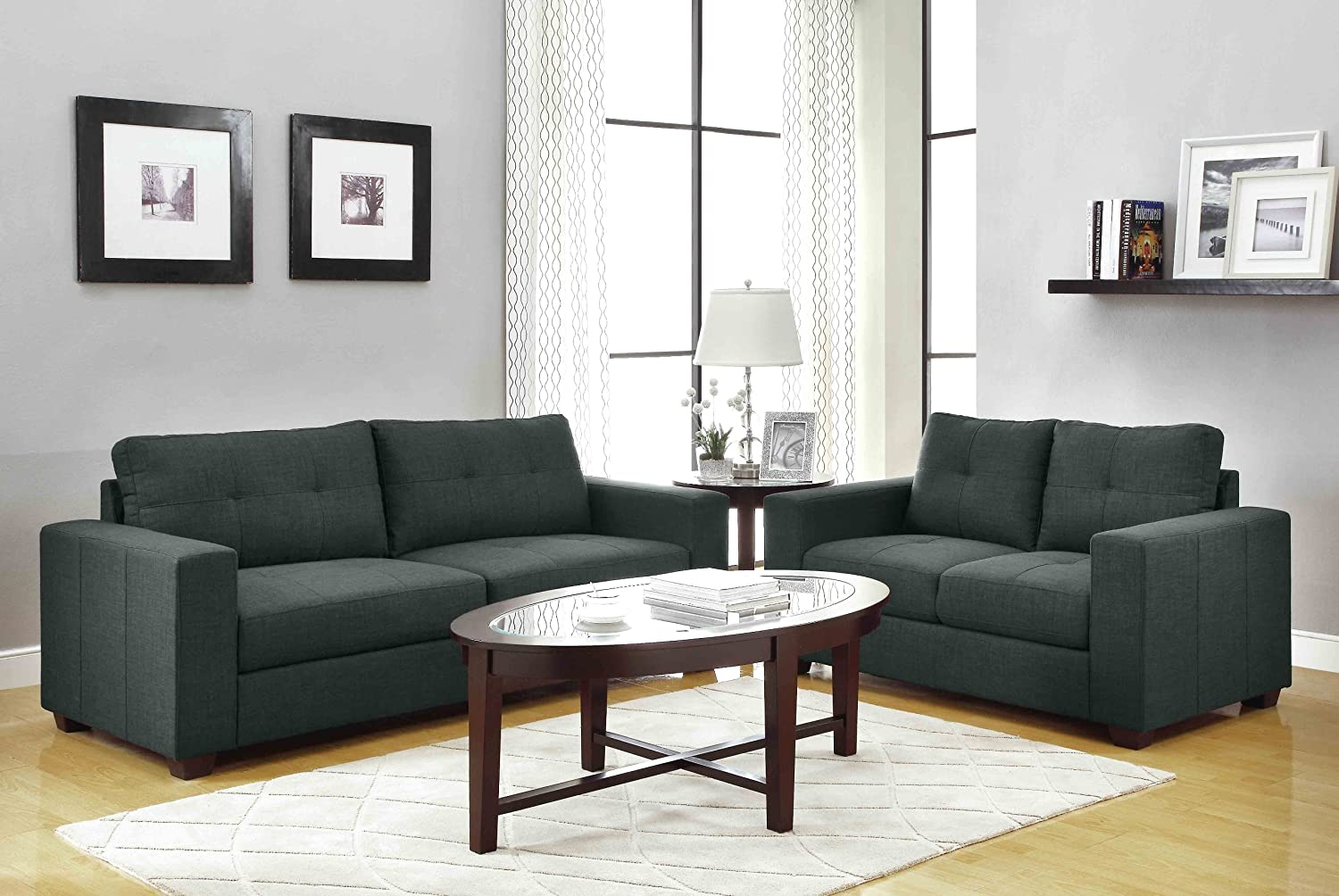 Charmant Amazon.com: Homelegance Ashmont 9639 3 Sofa, Dark Gray Linen Fabric:  Kitchen U0026 Dining