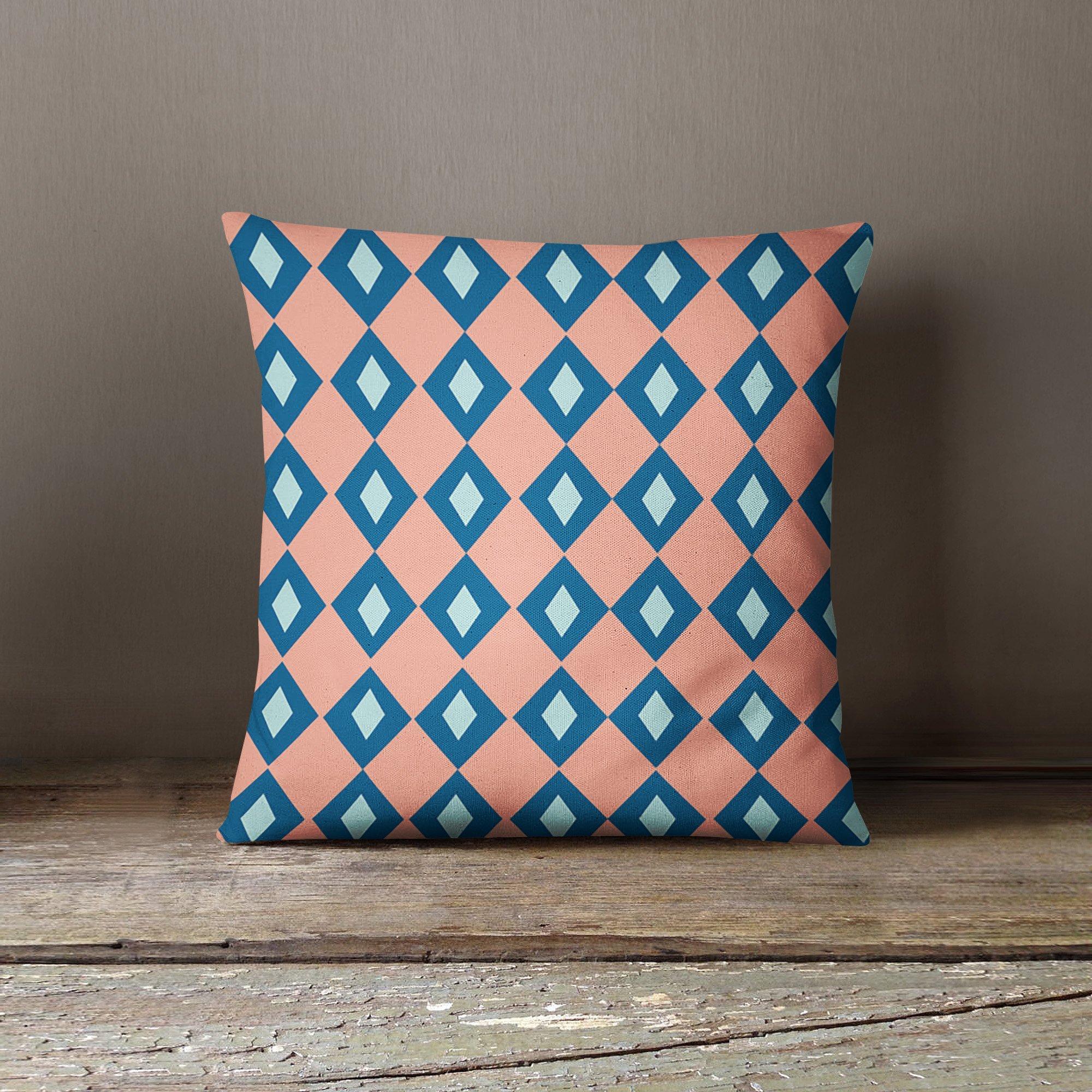 Pink Blue Diamond Pillow Cover