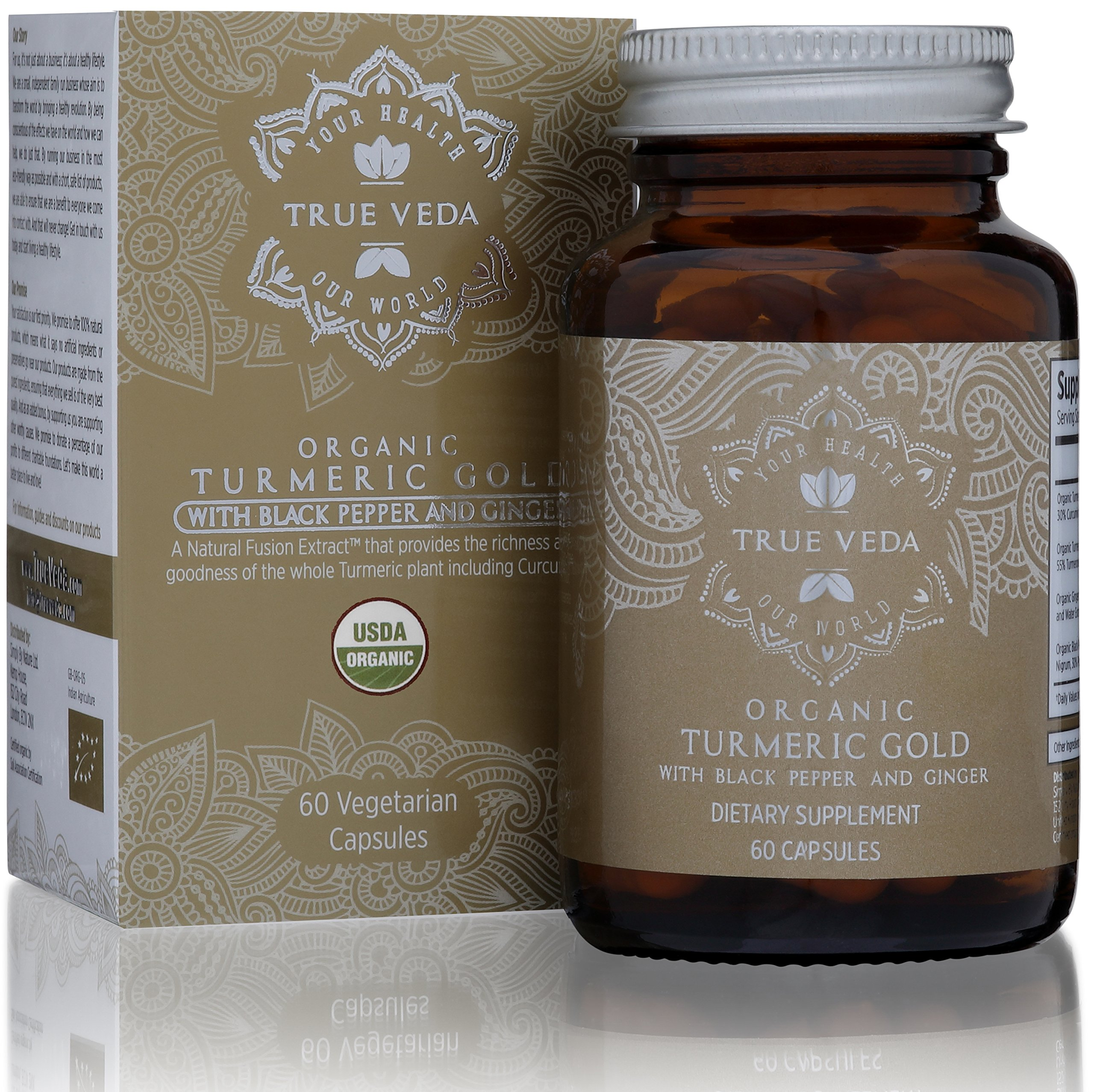 Organic Turmeric Curcumin Capsules - Includes Organic Ginger and Black Pepper Extracts   Certified Organic by USDA   100% Natural Herbal Supplement   Natural Anti-inflammatory   Antioxidant   60 Pills