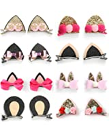 Onedor Baby Girls Cat Ear Hair Bows Clips Barrettes for kids Toddlers Children