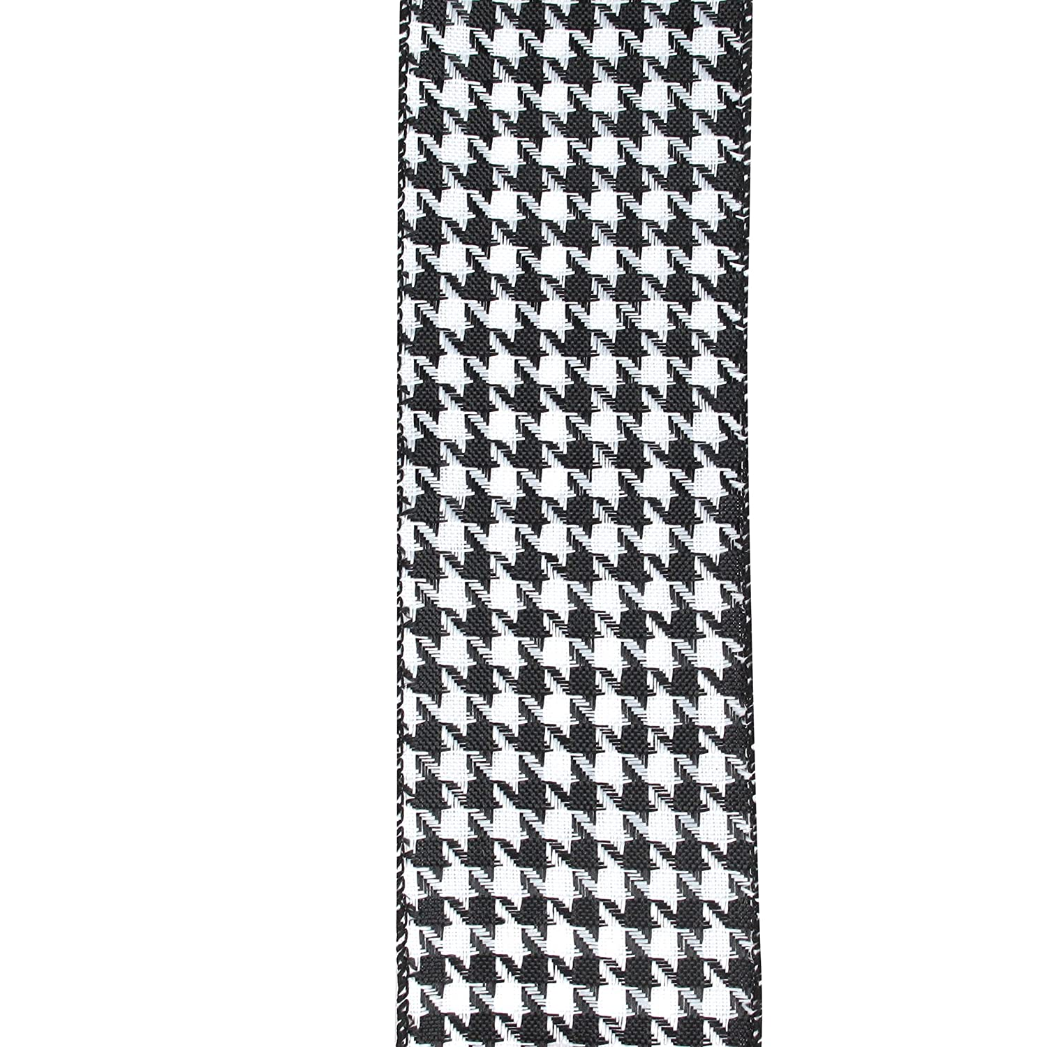 Amazon.com: Premium Black & White Houndstooth Pattern Wired Ribbon ...