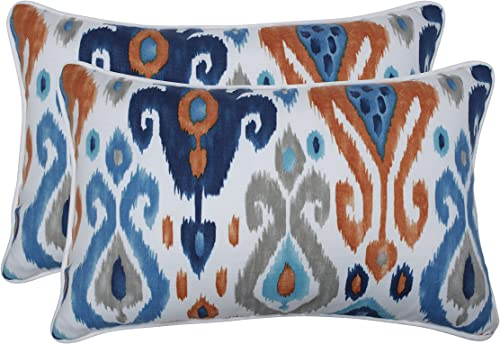 Pillow Perfect Outdoor Indoor Paso Azure Lumbar Pillows, 11.5 x 18.5 , Blue, 2 Pack