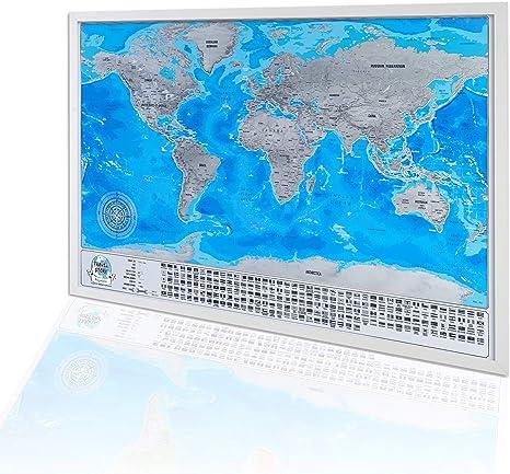 Enmarcado Mapa mural para rascar del Mundo , mapa detallado con banderas, Marco blanco: Amazon.es: Hogar