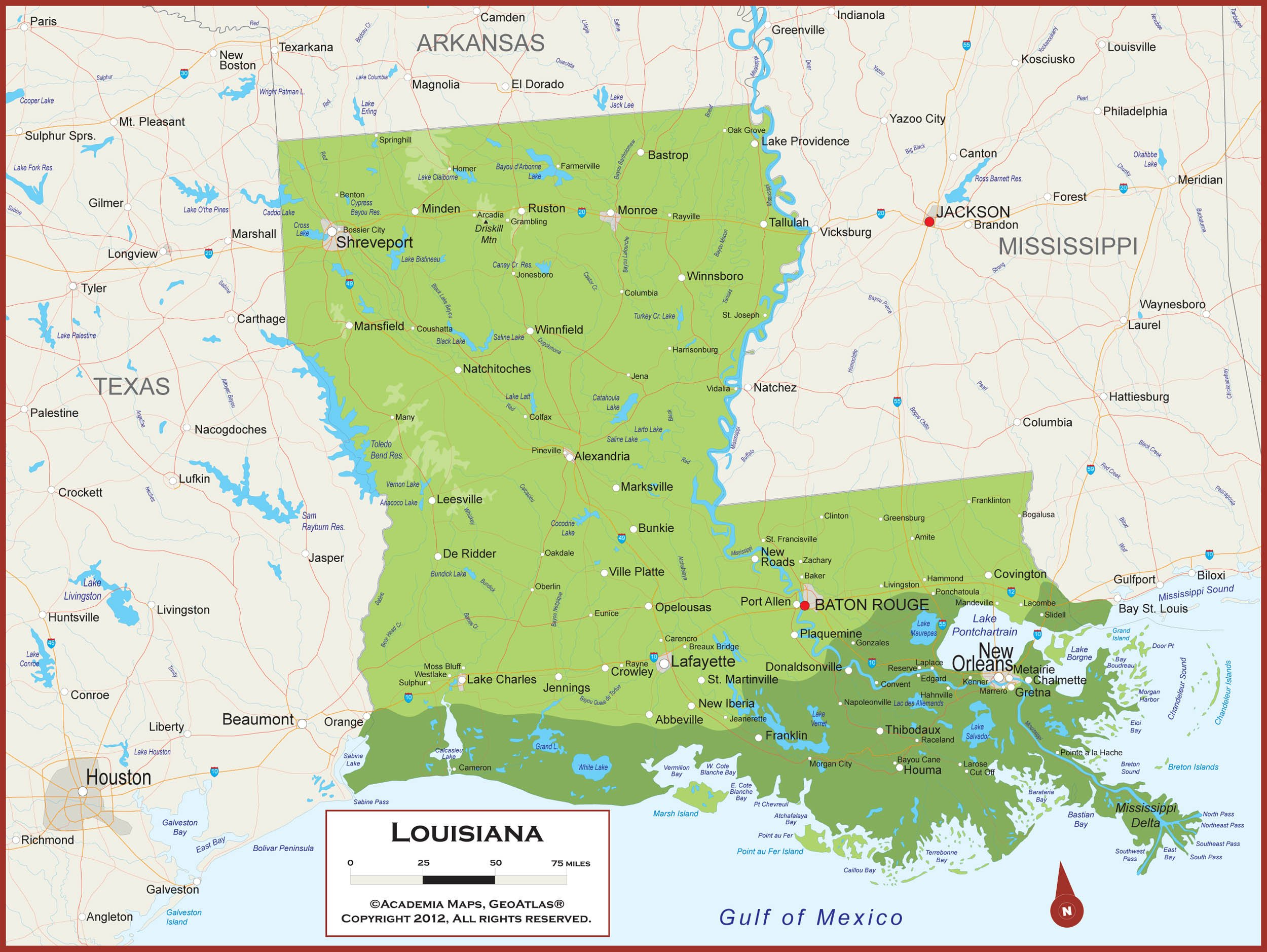 60 x 45 Giant Louisiana State Wall Map Poster with Topography - Classroom Style Map with Durable Lamination - Safe for Use with Wet/Dry Erase Marker - Brass Eyelets for Enhanced Durability