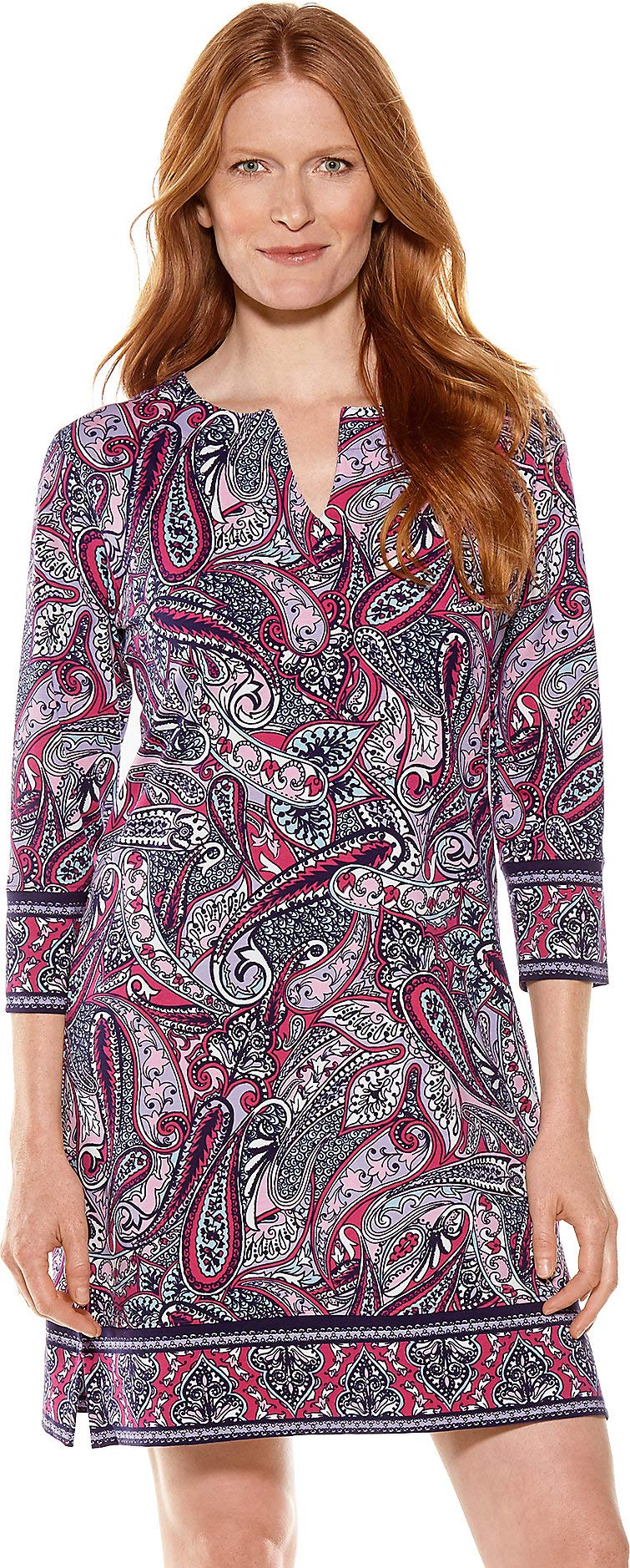 Coolibar UPF 50+ Women's Oceanside Tunic Dress - Sun Protective (XX-Large- Pink Lively Paisley)