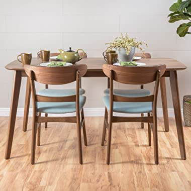 Christopher Knight Home 299278 Helen Mid Century Fabric & Wood Finish 5 Piece Dining Set (Walnut/Mint),