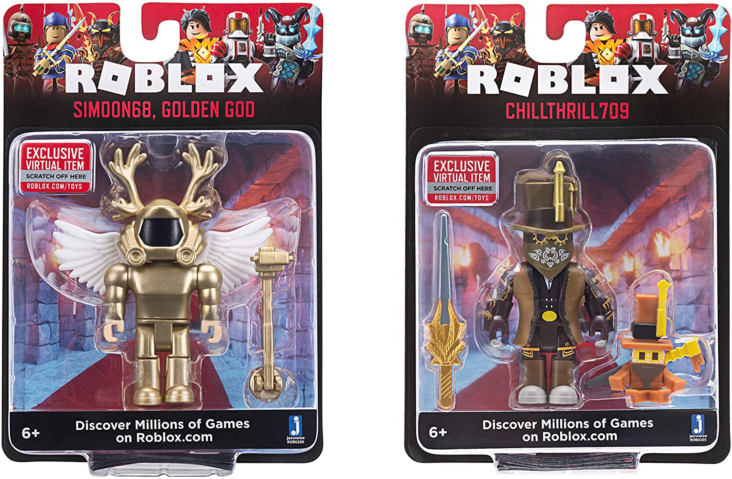 Amazon Com Roblox Action Collection Simoon68 Golden God Chillthrill709 Two Figure Bundle Includes 2 Exclusive Virtual Items Toys Games