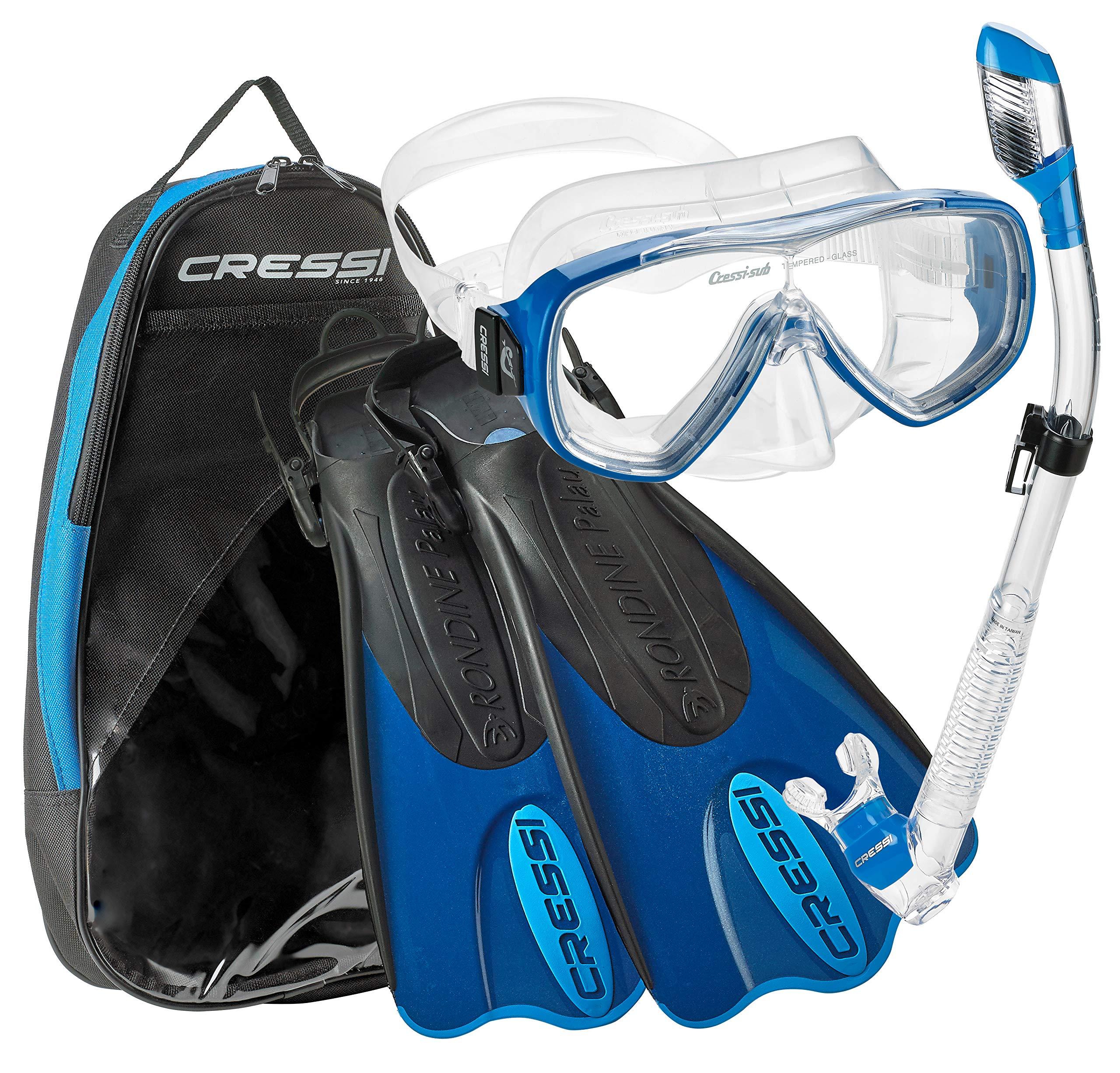 Cressi Palau Short Onda Dry Snorkel Deluxe Bag Mask Fin Snorkel Set - Blue - XS