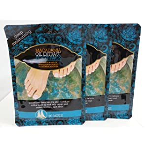 Multi Pack Offer 3 X Macadamia Oil Extract Deep Moisturising Foot Pack Socks Treatment Deep Moisturising