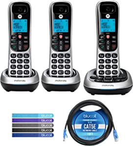 Motorola CD4013 DECT 6.0 Cordless Phones with Digital Answering Machine and Call Block (3-Pack) Bundle with Blucoil 10-FT 1 Gbps Cat5e Cable, and Reusable Cable Ties (5-Pack)