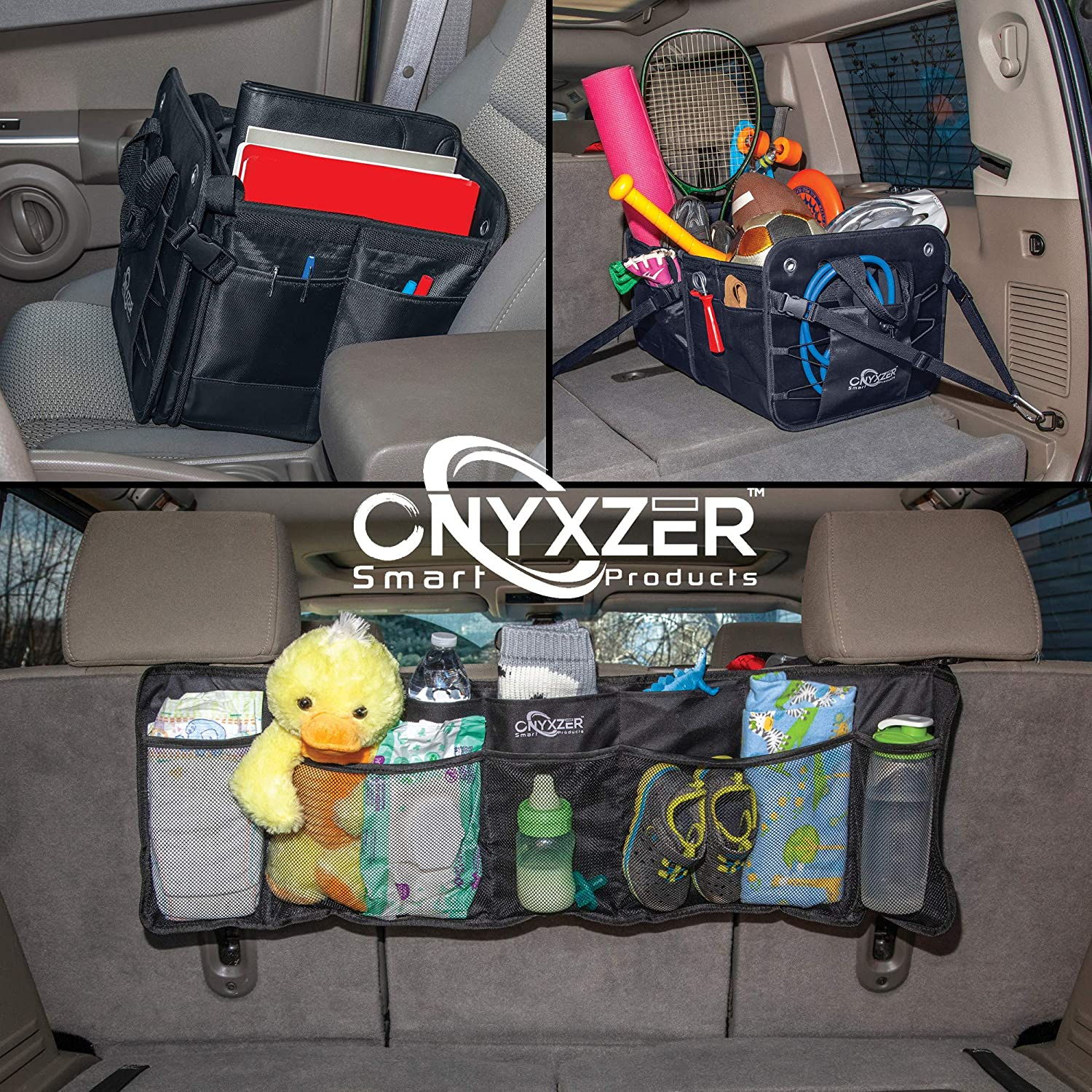 Stainless Hooks ONYXZER Trunk Organizer for Car and SUV Heavy Duty Collapsible Trunk Storage Organizer Straps and Non-Slip Bottom Strips to Prevent Sliding Free Backseat Trunk Organizer ONX-1020
