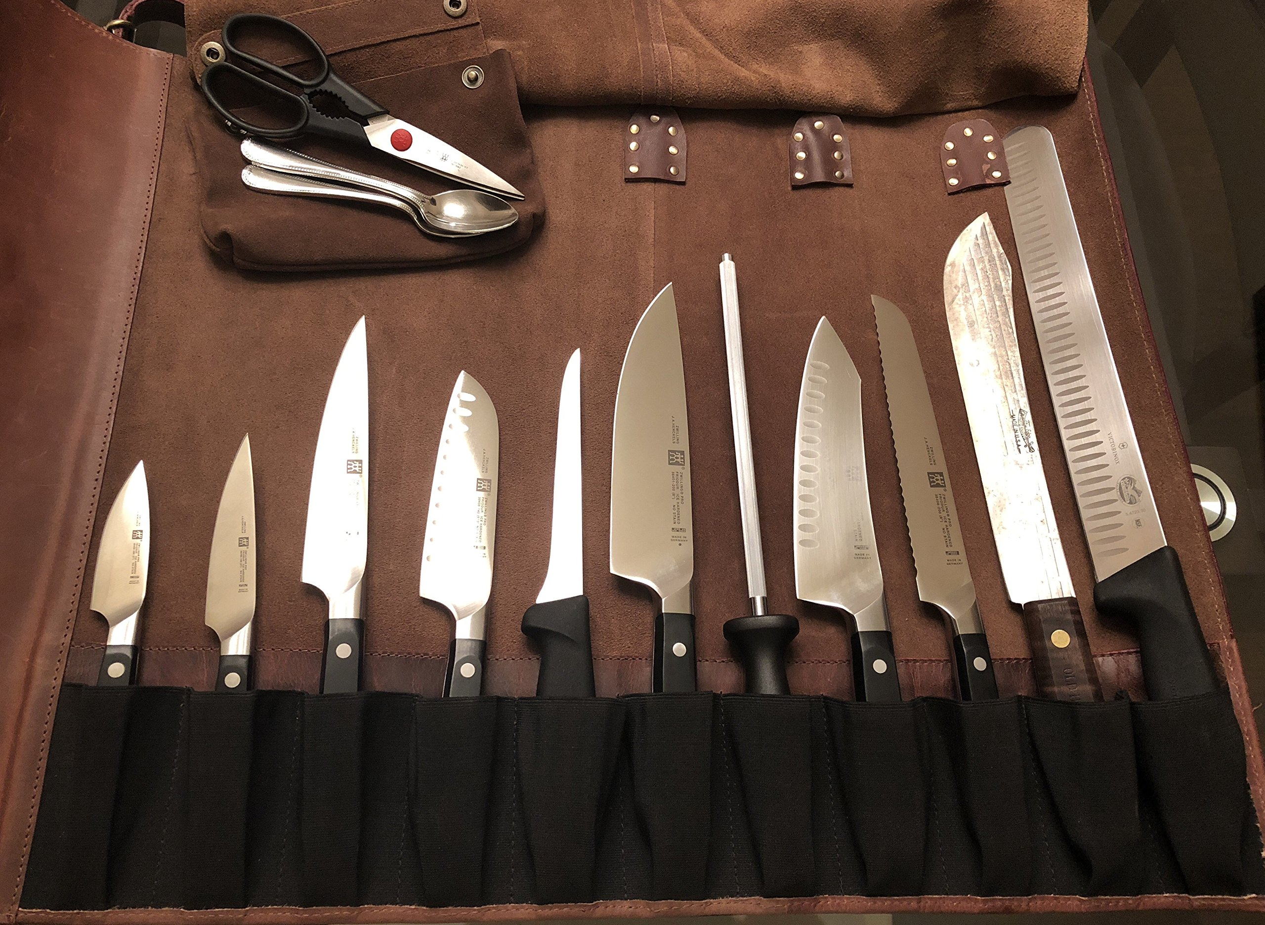 Genuine Leather Chef Knife Roll - All Purpose Chef Roll Up Kit - Portable Kitchen Knives Protector by Rustic Town (Image #4)