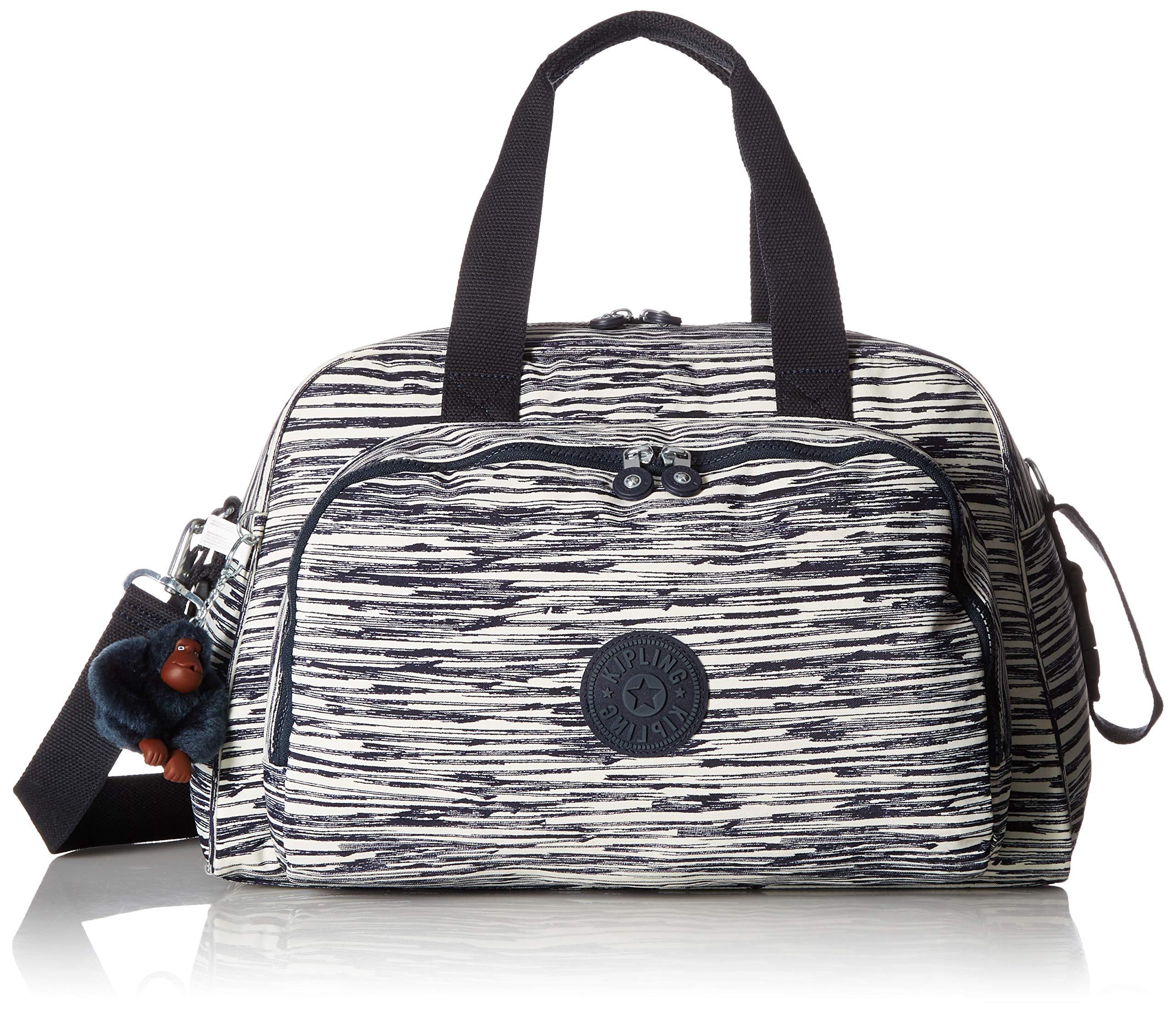 Kipling Camama Diaper Bag, Stroller Clips, Insulated Bottle Holder, Zip Closure, Scribble Lines Blue