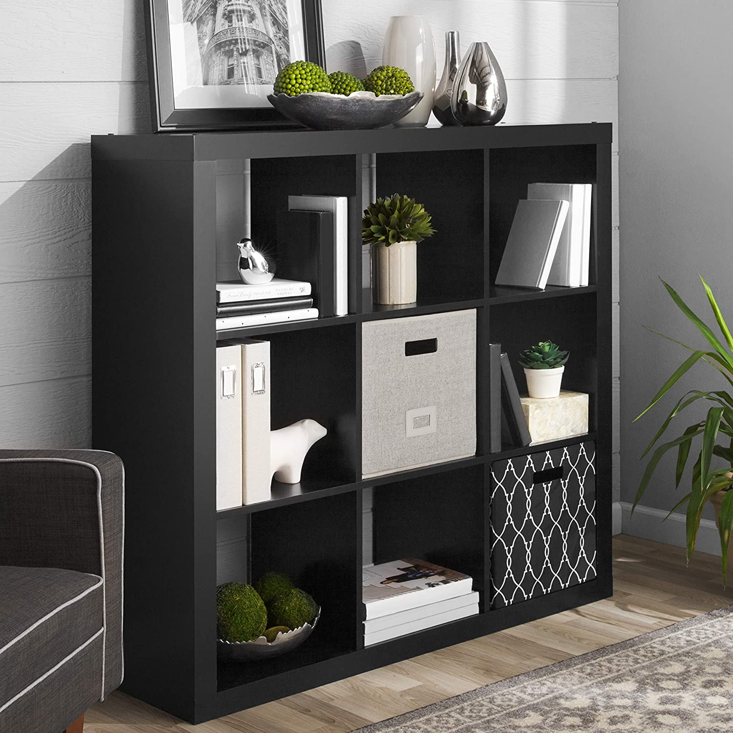 Better Homes and Gardens 9-Cube Organizer in Solid Black