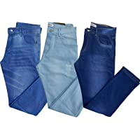 Kit com 3 Calças Masculinas Skinny Jeans/Sarja
